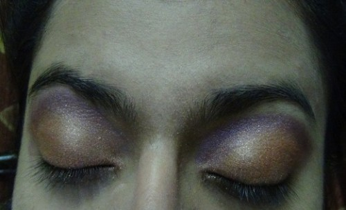 bronze and purple eye shadow