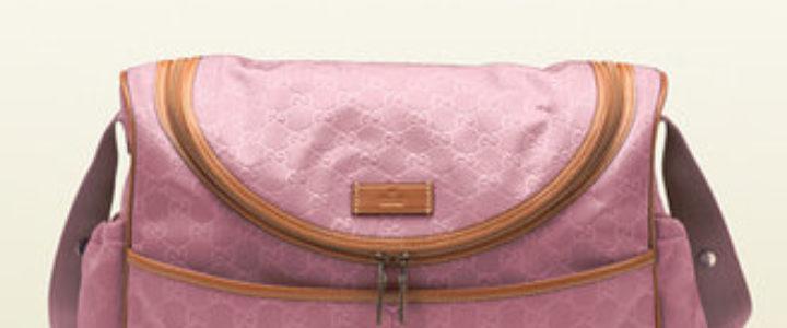 pink Gucci diaper bag