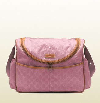 pink Gucci diaper bag